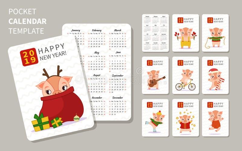 Mall av kalendern vektor illustrationer