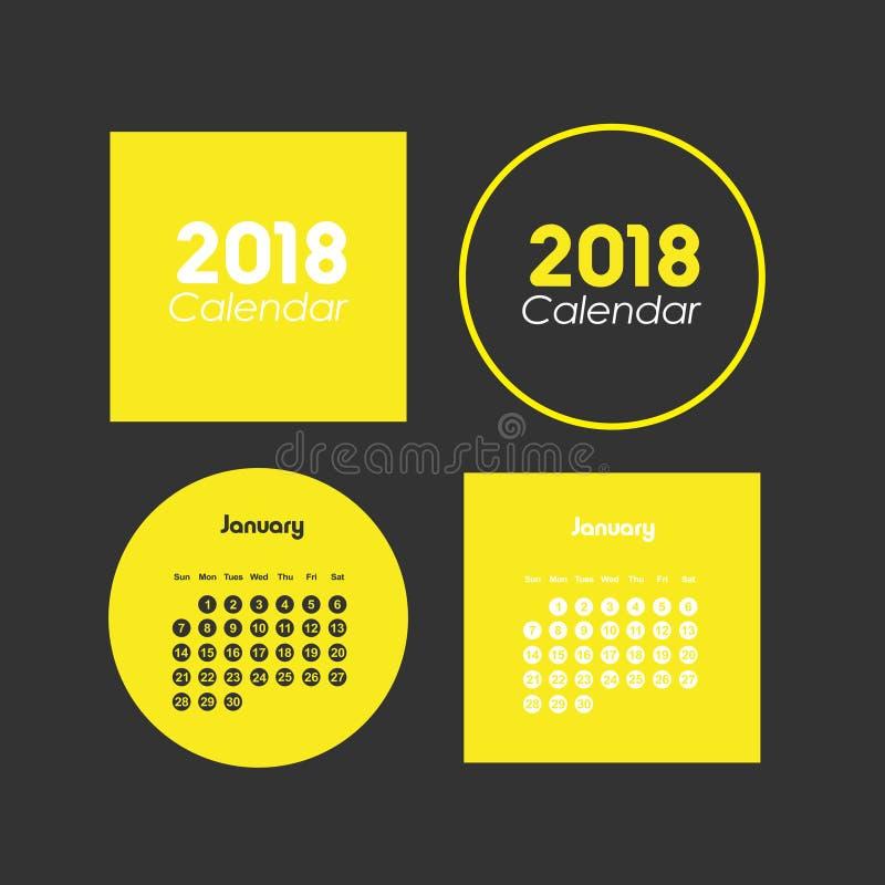 Mall av kalendern för Januari 2018 royaltyfri illustrationer