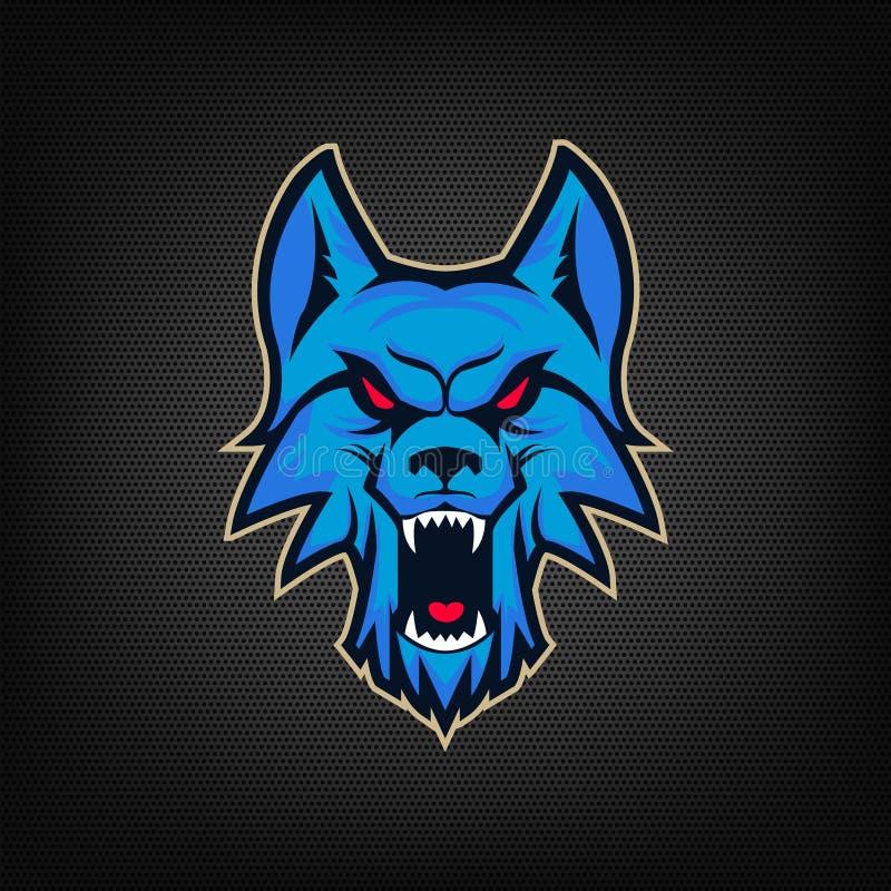 Mall av logoen med det ilskna varghuvudet Emblem för sportlag Mor stock illustrationer