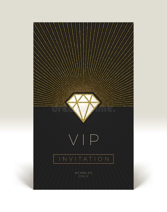 Mall av storgubbeinbjudan Blänka den guld- glänsande diamanten med sunburst royaltyfri illustrationer