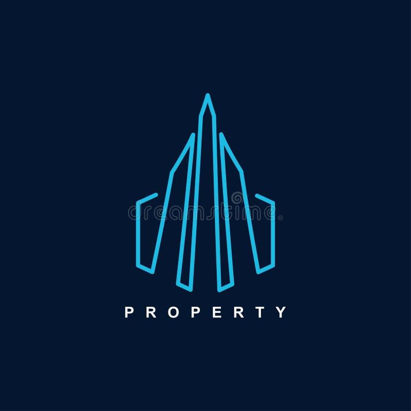 Mall av symbolet för egenskapssymbolslogo för illustration för vektor för hyreshusarkitekturdesign stock illustrationer