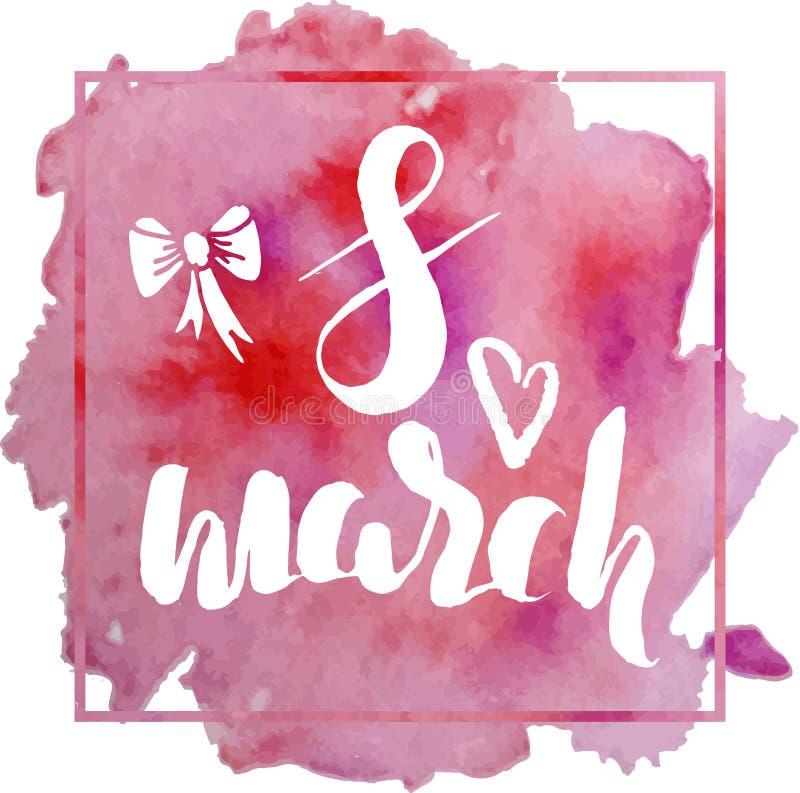 Mall av vykortet för den internationella dagen för kvinna` s, 8 hand för marsch stock illustrationer