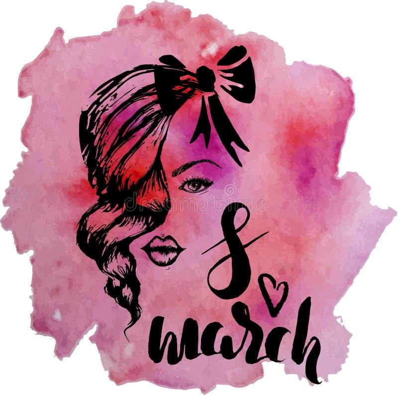 Mall av vykortet för den internationella dagen för kvinna` s, 8 hand för marsch royaltyfri illustrationer