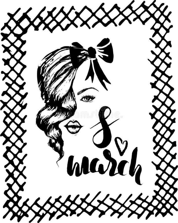Mall av vykortet för den internationella dagen för kvinna` s, 8 hand för marsch vektor illustrationer