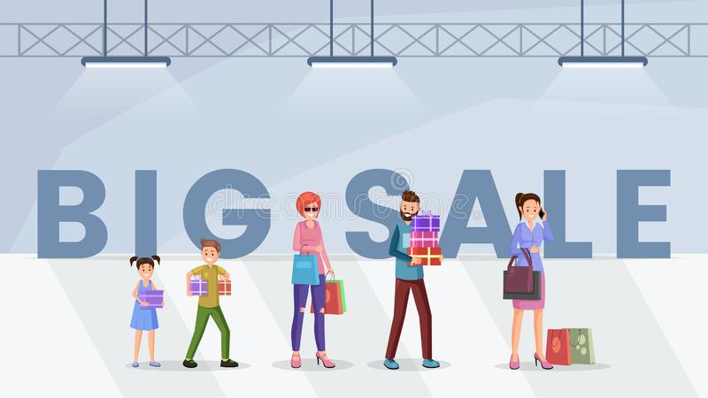 Mall big sale web banner template. Cheerful shoppers holding shopping bags cartoon characters. Happy buyers purchasing presents on discount, black friday offer stock illustration