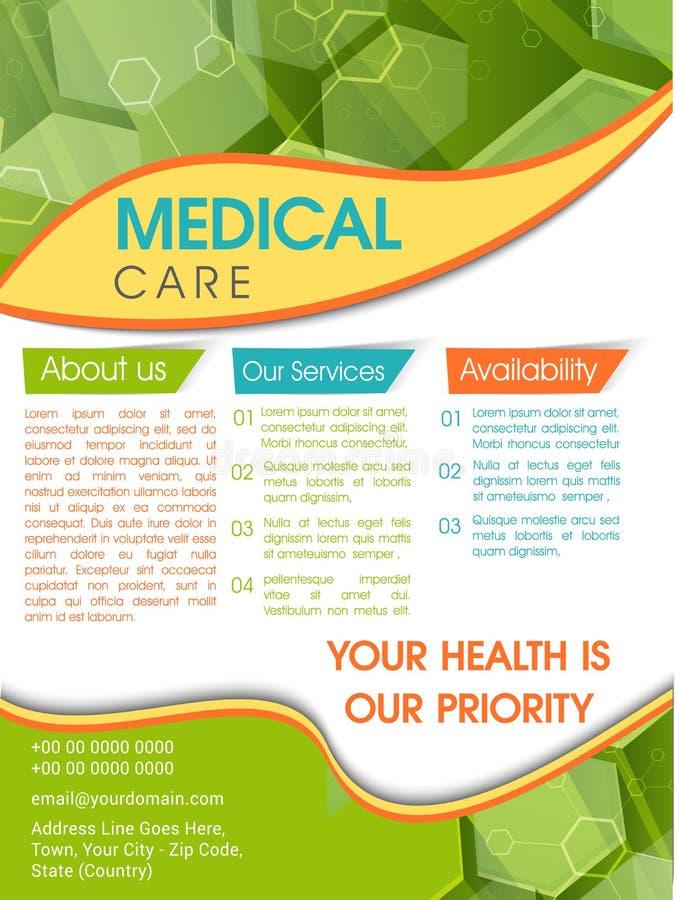 Mall, broschyr eller reklamblad för medicinsk vård stock illustrationer