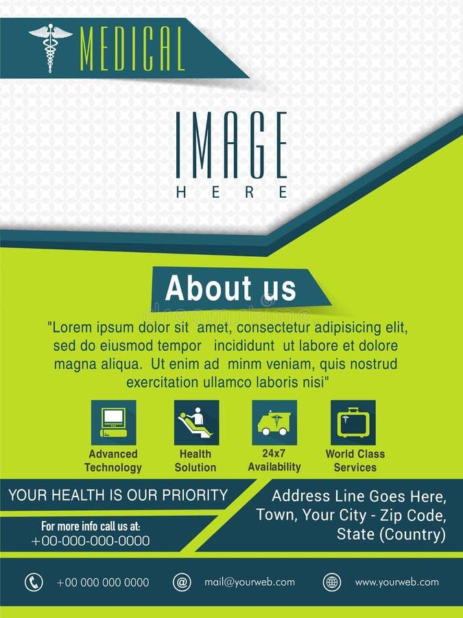Mall, broschyr eller reklamblad för medicinskt begrepp vektor illustrationer