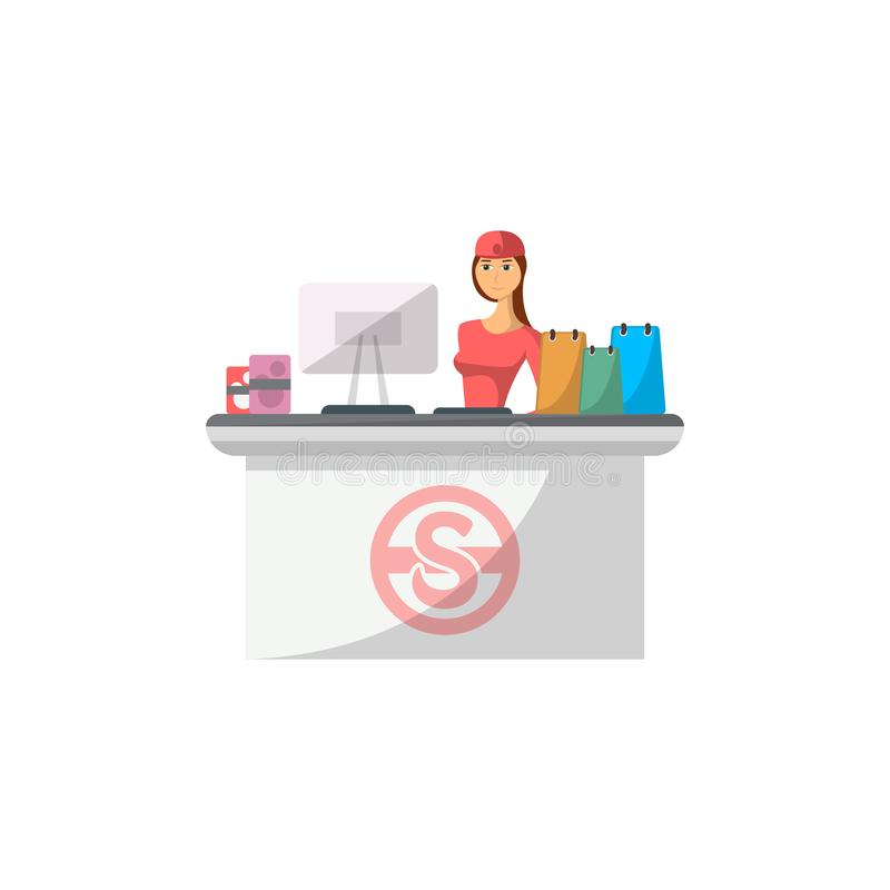 Mall checkout counter with cashier icon. In flat style. Shopping in supermarket, retail and distribution vector illustration stock illustration