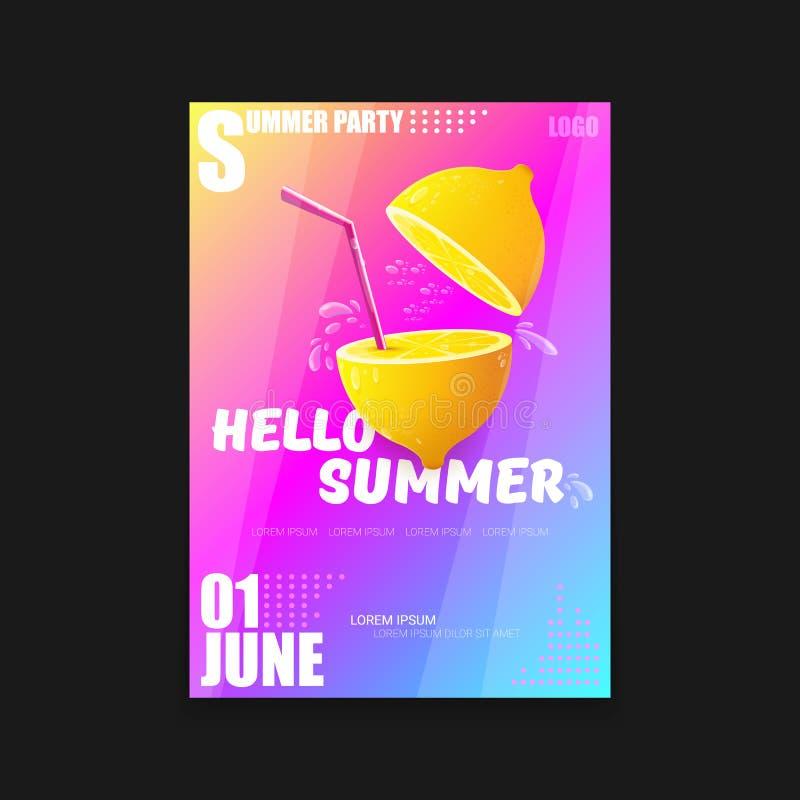Mall eller åtlöje för design för affisch A4 för parti för strand för vektorHello sommar vertikal upp med den nya citronen på rosa stock illustrationer