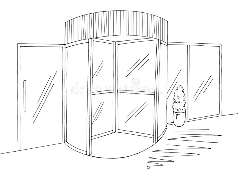 Mall enter revolving doors building exterior graphic black white sketch illustration vector stock illustration