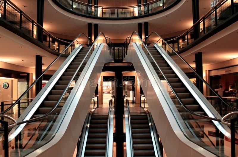 Mall escalators and atrium stock photography