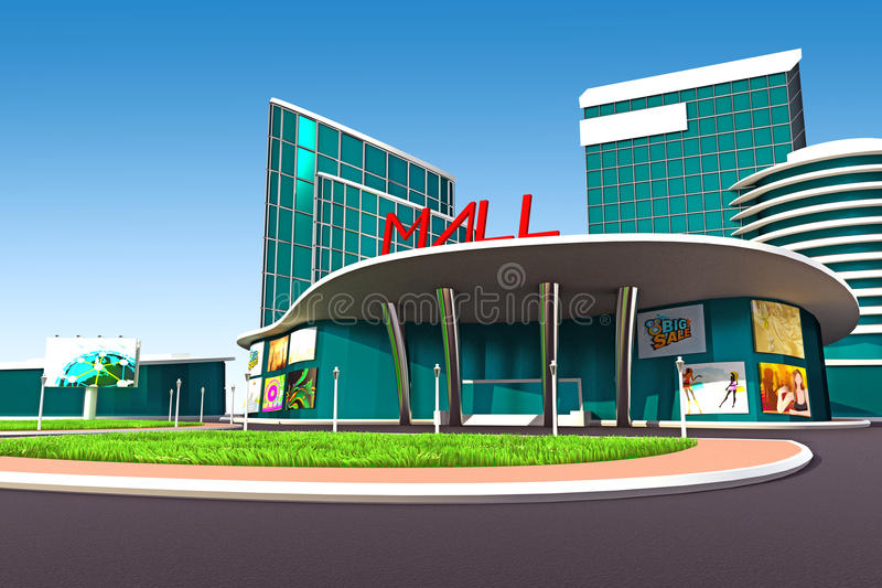 Mall Exterior. 3d illustration of mall exterior model with road stock illustration