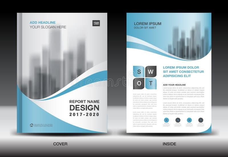 Mall för årsrapportbroschyrreklamblad, blåtträkningsdesign royaltyfri illustrationer