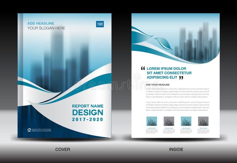 Mall för årsrapportbroschyrreklamblad, blåtträkningsdesign vektor illustrationer