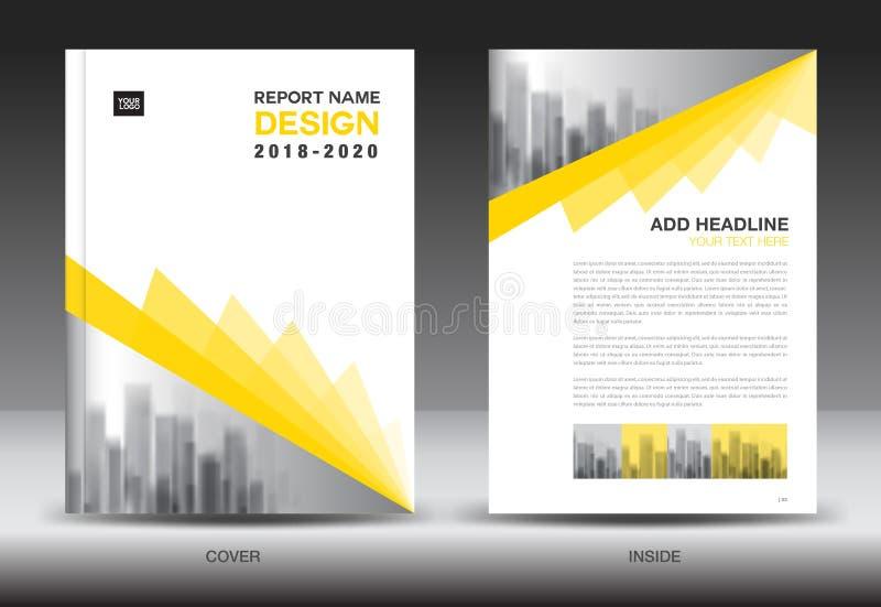 Mall för årsrapportbroschyrreklamblad, gul räkningsdesign royaltyfri illustrationer