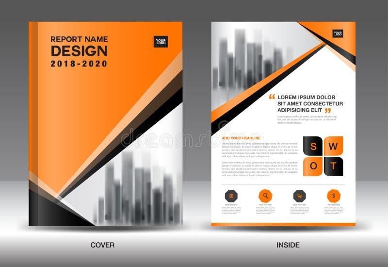 Mall för årsrapportbroschyrreklamblad, orange räkningsdesign royaltyfri illustrationer