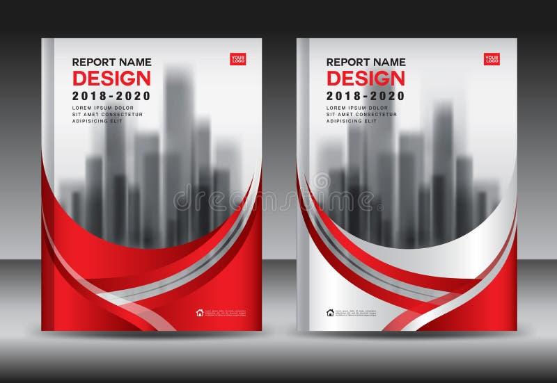 Mall för årsrapportbroschyrreklamblad, röd räkningsdesign, affär vektor illustrationer