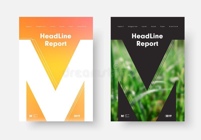 Mall för årsrapportvektorräkning med apelsin-guling mjukt akademikert vektor illustrationer