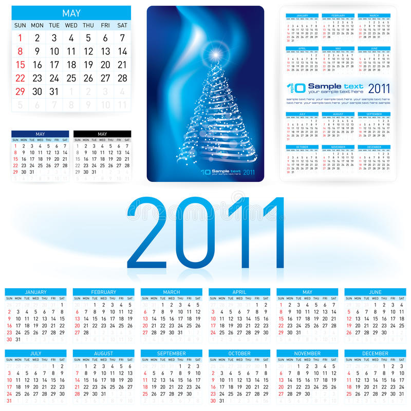 mall för 2011 kalender stock illustrationer
