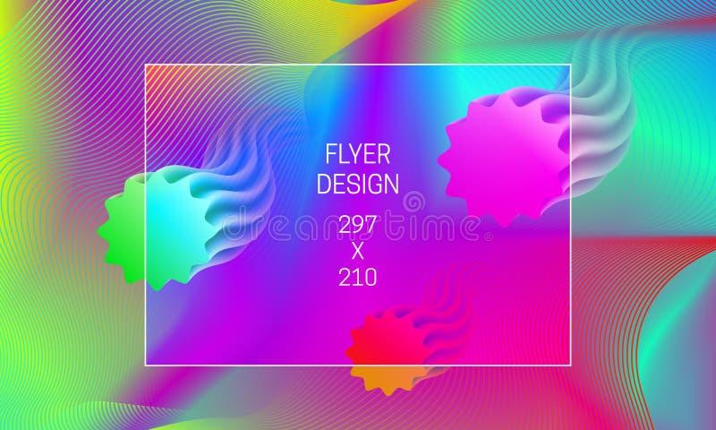 Mall för abstrakt bakgrundutveckling för reklamblad Vibrerande bakgrund för vektor med att sväva genomskinliga former och färgrik royaltyfri illustrationer