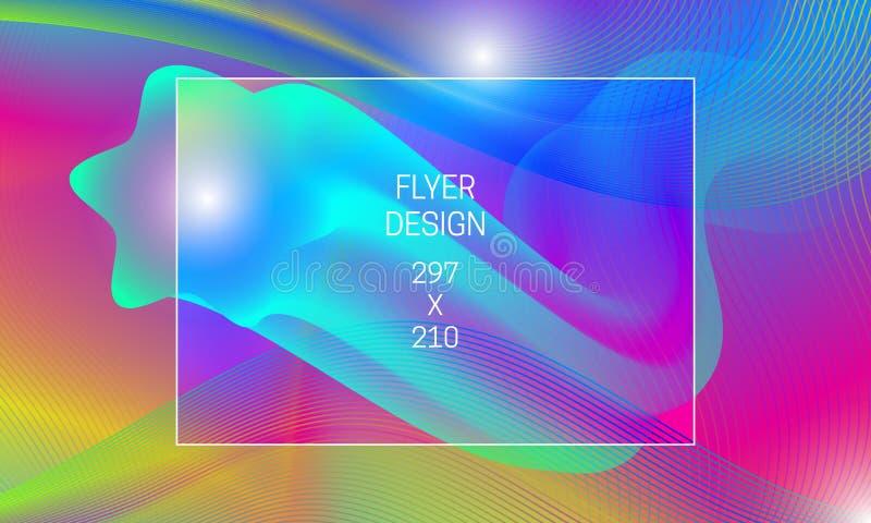 Mall för abstrakt bakgrundutveckling för reklamblad Vibrerande bakgrund för vektor med att sväva vätskegenomskinlig form och färg stock illustrationer
