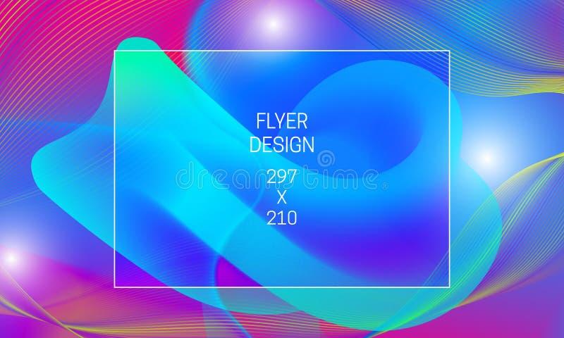 Mall för abstrakt bakgrundutveckling för reklamblad Vibrerande bakgrund för vektor med att sväva vätskegenomskinlig form och färg royaltyfri illustrationer
