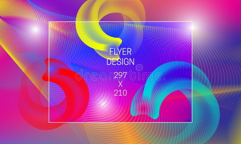 Mall för abstrakt bakgrundutveckling för reklamblad Vibrerande bakgrund för vektor med ringformiga genomskinliga former och färgr vektor illustrationer