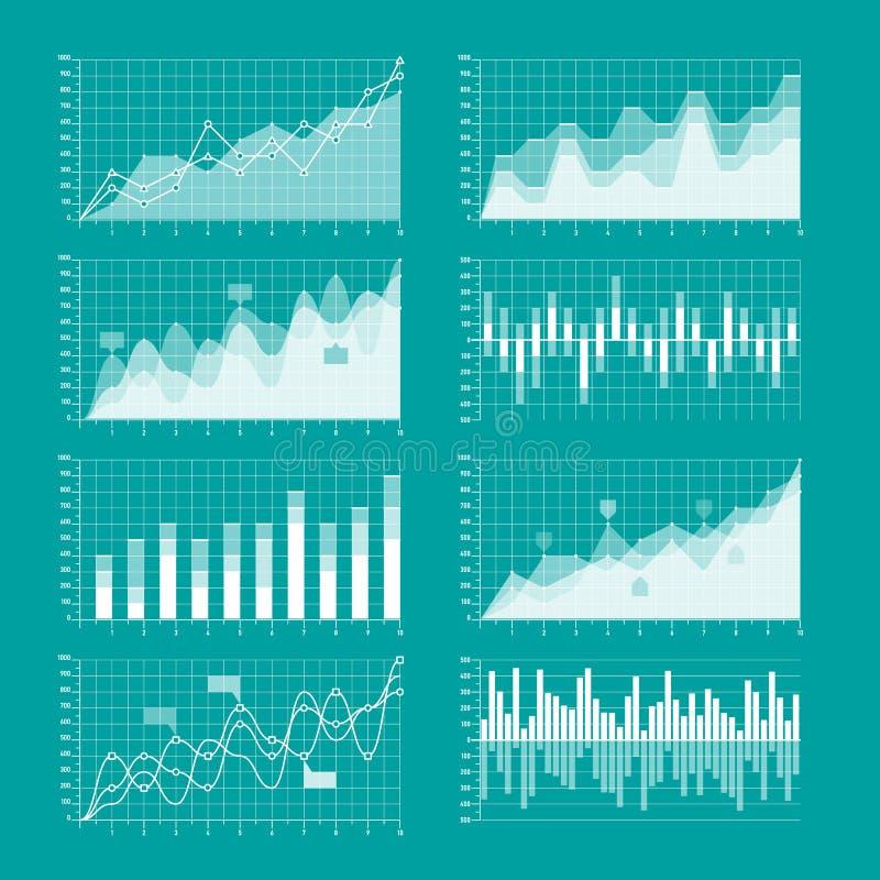 Mall för affärsdiagram och graf stock illustrationer