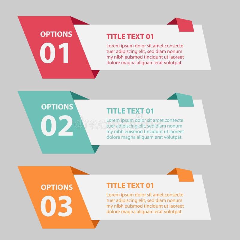 Mall för affärsinfographicsflikar för presentation, stock illustrationer