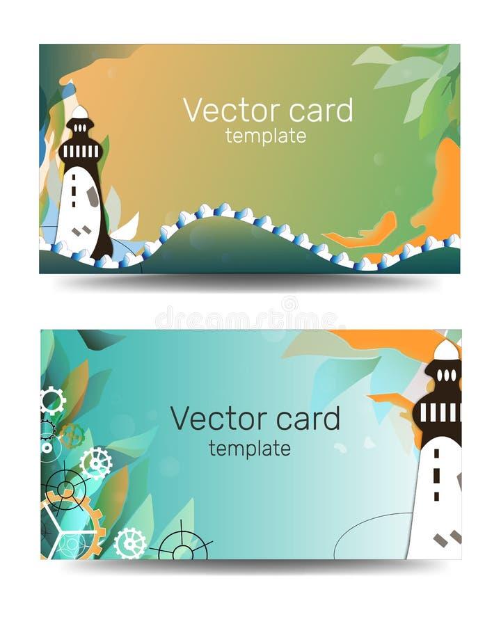 Mall för affärskort i gröna färger med den geometriska prydnaden Barntextram Havsbaner, mall med fyren cartoon stock illustrationer
