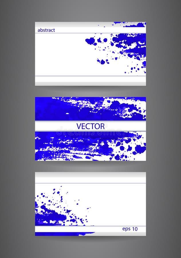Mall för affärskort med blåttabstrakt begreppsprutmålningsfärg tätt papper för bakgrund som skjutas upp royaltyfri foto