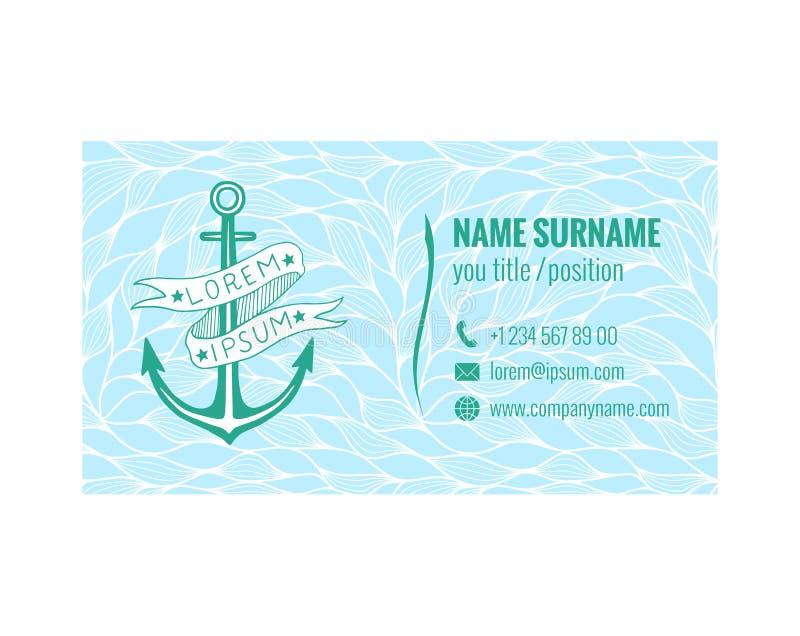 Mall för affärskort för yachtklubba, havstransport eller loppbyrå Nautisk design också vektor för coreldrawillustration royaltyfri illustrationer