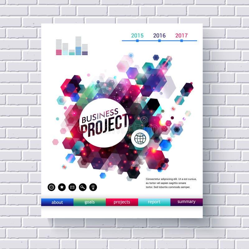 Mall för affärsprojektrengöringsduk på den vita tegelstenväggen stock illustrationer