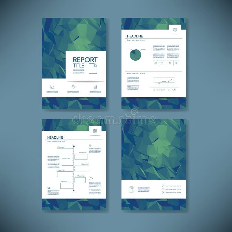 Mall för affärsrapport med låg poly bakgrund Orientering för dokument för broschyr för projektledning för företagspresentationer vektor illustrationer
