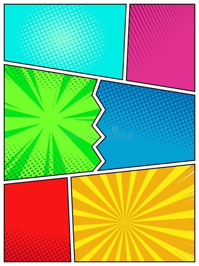 Mall för affisch för högkvalitativ stil för popkonst retro, åtlöje för humorbokräkningssida upp vektor illustrationer