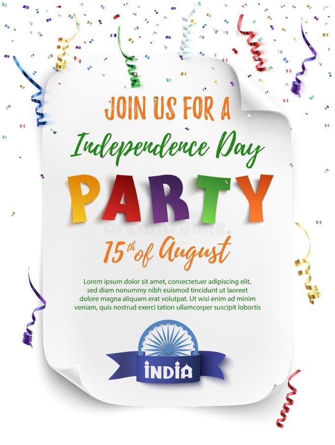 Mall för affisch för Indien självständighetsdagenparti stock illustrationer