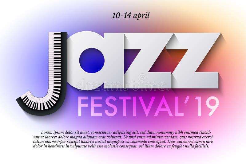 Mall för affisch för jazzmusikfestival Tangentbord och pappers- bokstäver på färgrik bakgrund Vektorreklamblad- eller banerdesign royaltyfri illustrationer