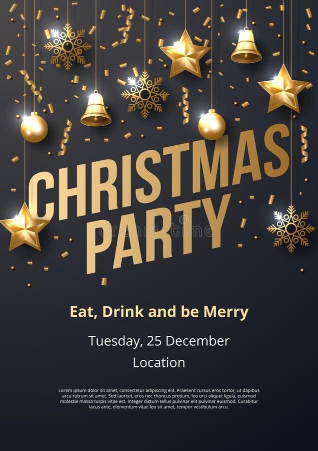 Mall för affisch för julparti med glänsande guld- prydnader stock illustrationer