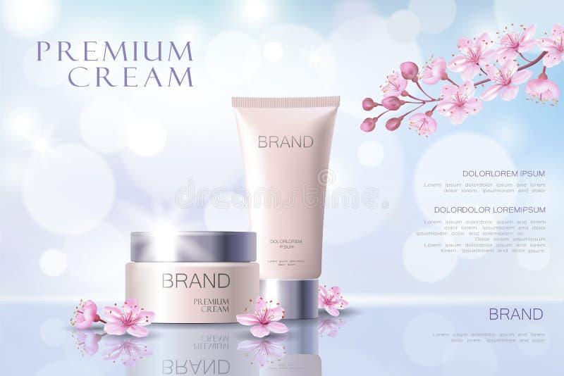 Mall för affisch för Sakura blomma kosmetisk befordrings- Japansk filial för rosa kronbladblomning Guld- rosa packe realistisk 3d vektor illustrationer