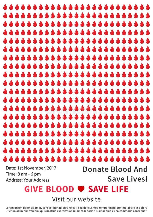 Mall för affisch för vektor för aktion för bloddonation stock illustrationer