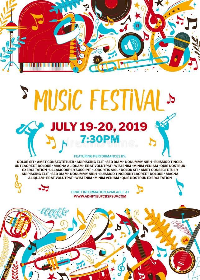 Mall för affisch för vektor för musikfestival plan vektor illustrationer