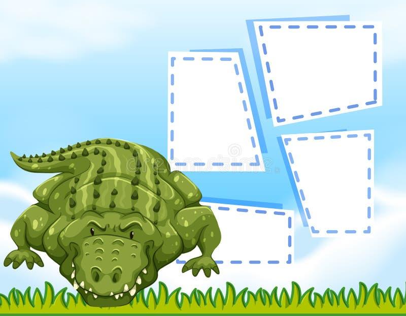 Mall för alligatormellanrumsram vektor illustrationer