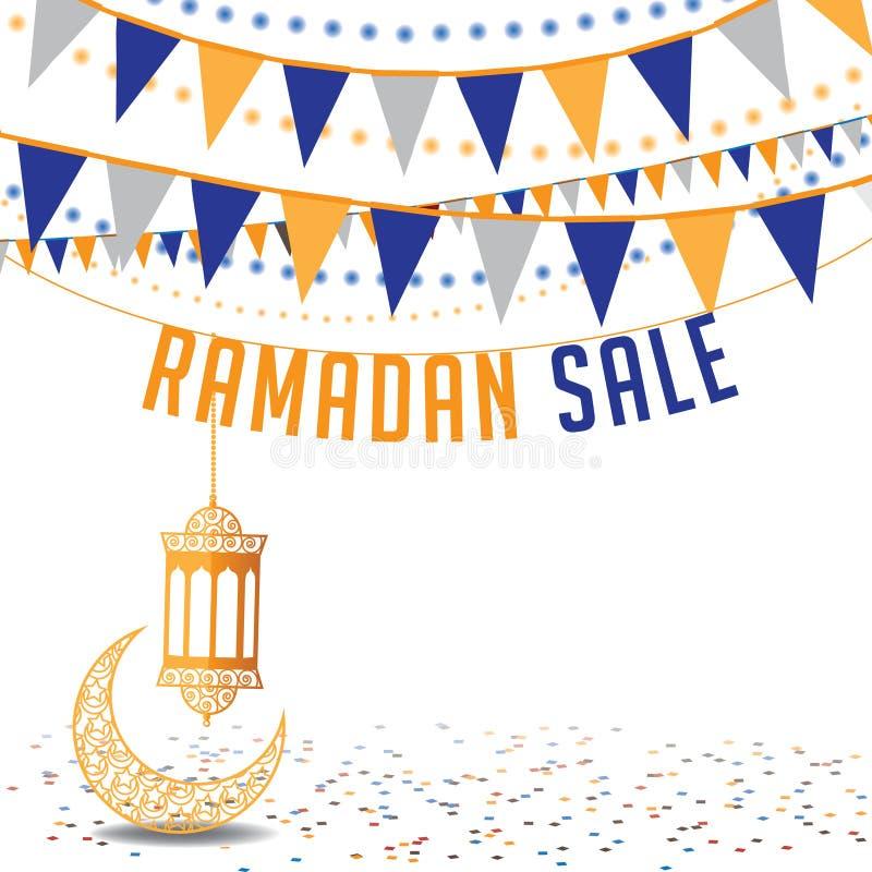 Mall för annons för Ramadanförsäljningsbakgrund stock illustrationer