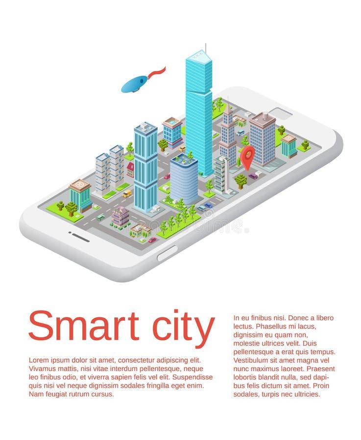 Mall för app för telefon för smart stad för vektor isometrisk royaltyfri illustrationer