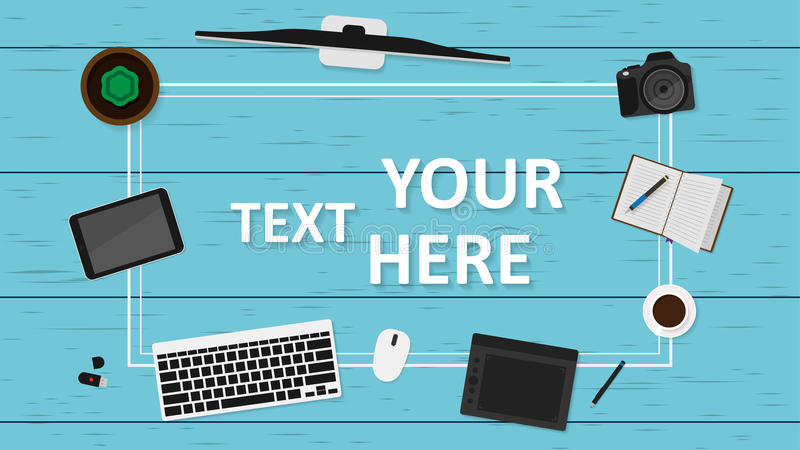 Mall för arbetsplats för lägenhet för bästa sikt för vektor märkes- Apparater och ställe för text För infographic eller baner vektor illustrationer