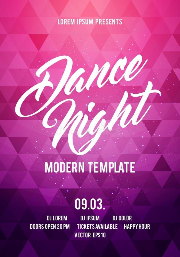Mall för bakgrund för affisch för parti för natt för vektorillustrationdans med färgrika moderna geometriska former Musikhändelse royaltyfri illustrationer