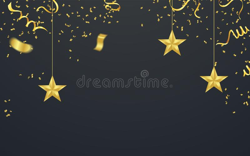 Mall för bakgrund för beröm för illustration för lycklig födelsedag för partiballonger med konfettier och band med stället för di royaltyfri illustrationer