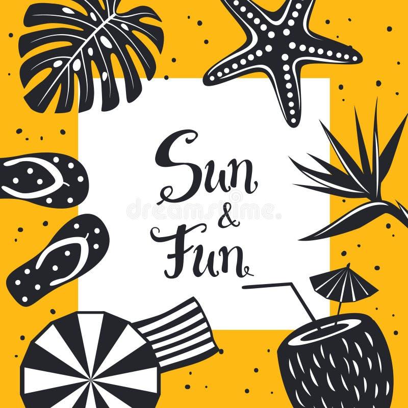 Mall för bakgrund för kort för ram för lopp för strand för sommartid med svartvit garnering, flipmisslyckanden, paraply, kokosnöt royaltyfri illustrationer