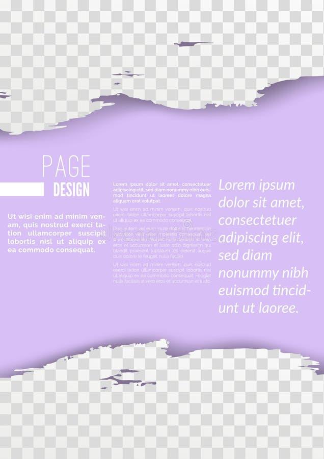 Mall för bakgrund för orientering för design för tryck för broschyrrapportsida royaltyfri illustrationer