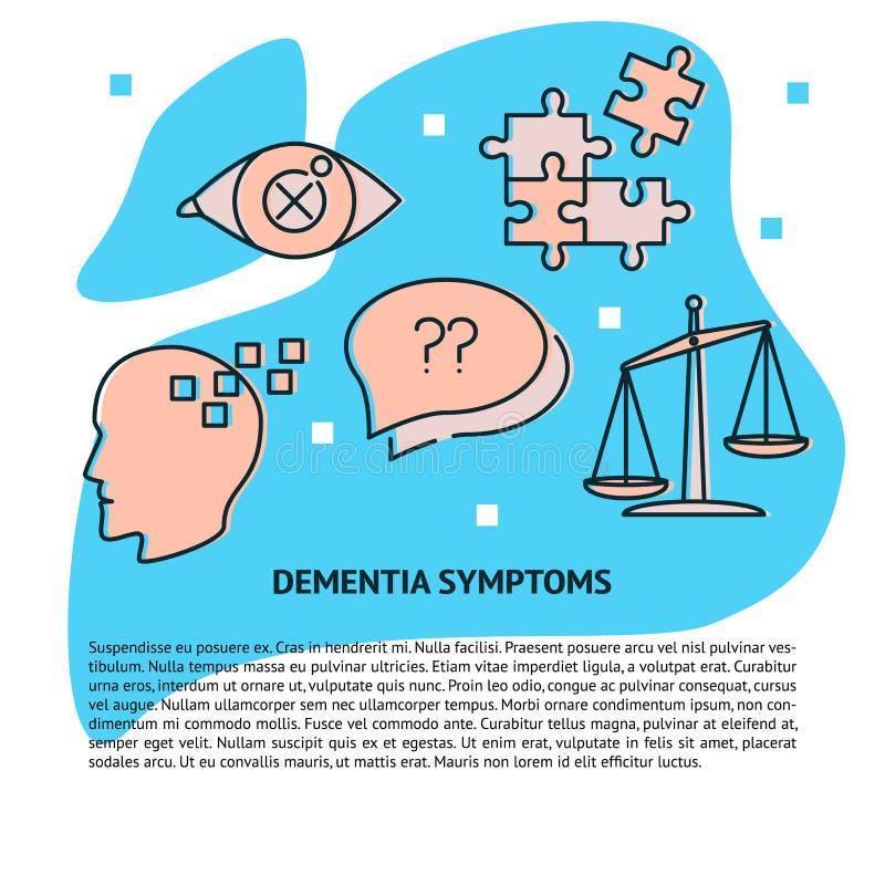 Mall för baner för demenssymptombegrepp i linjen stil royaltyfri illustrationer